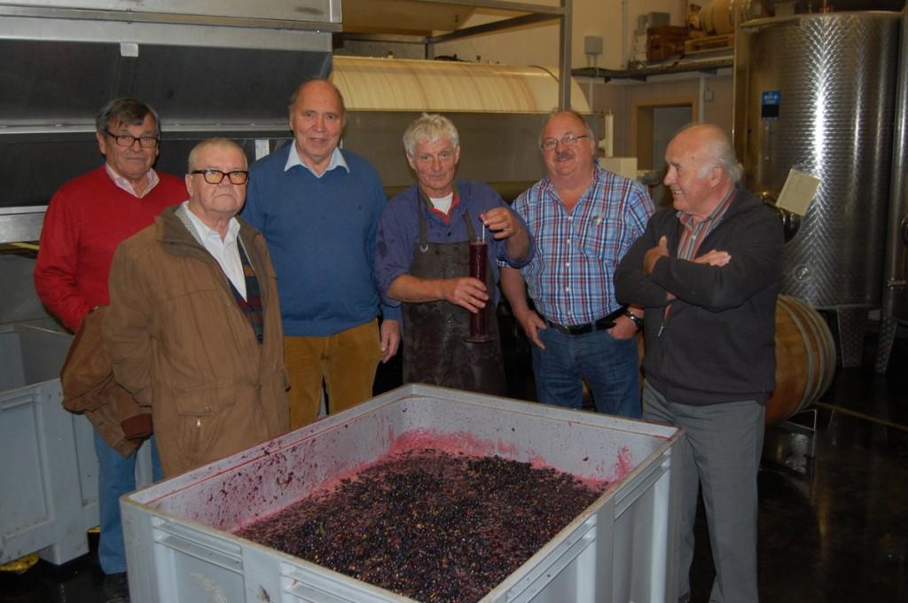 Kellermeister Karl-Heinz Brand (Mitte) mit den Weinbrüdern Heinrich Herzog, Roland Fitzner, Hans Buck und Willi Frank.